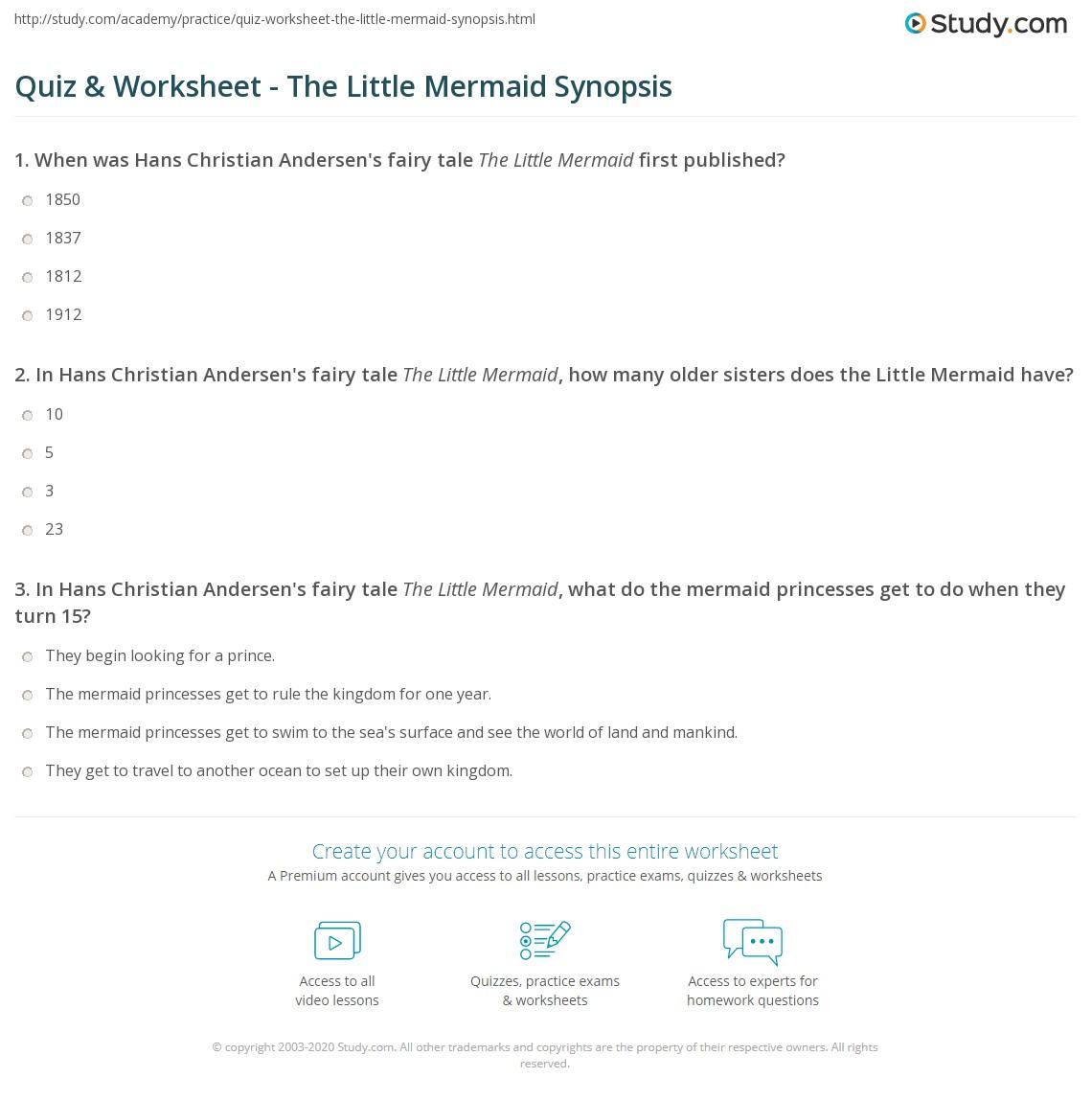 quiz u0026 worksheet the little mermaid synopsis study com