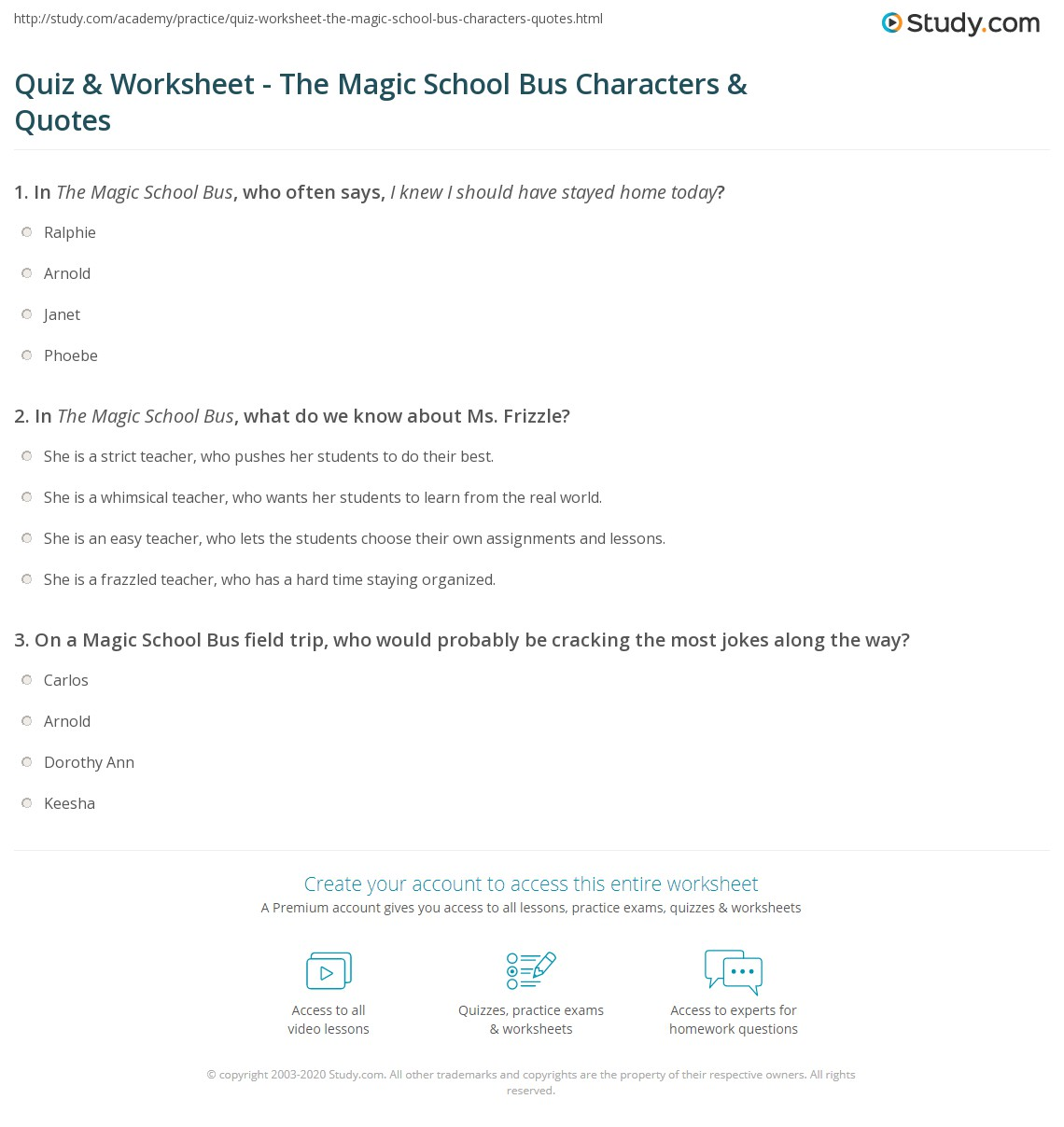 Print The Magic School Bus Characters Quotes Worksheet