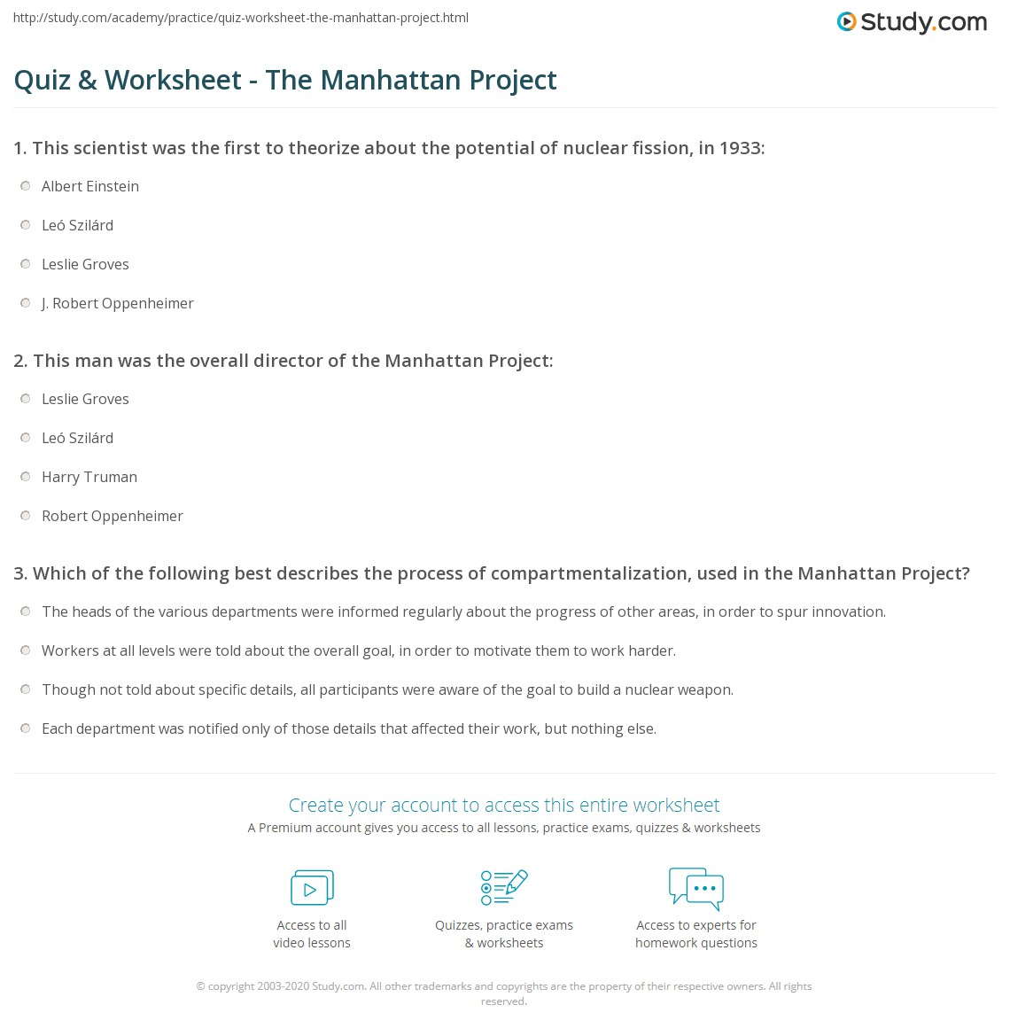 Worksheets Answers To Edhelper Worksheets quiz worksheet the manhattan project study com print what was definition scientists timeline worksheet