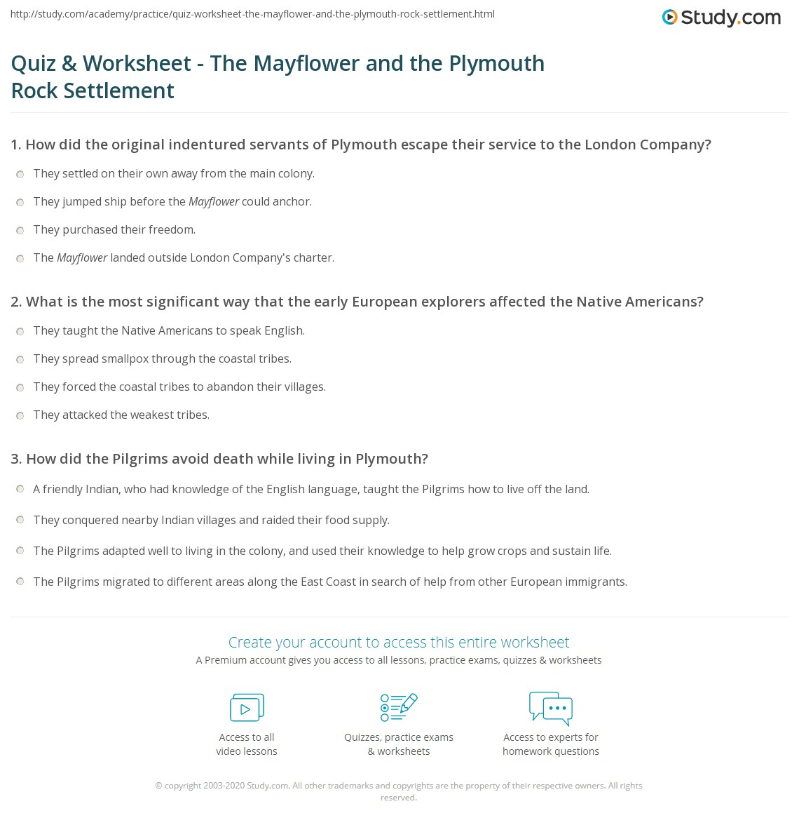 Worksheets Mayflower Compact Worksheet quiz worksheet the mayflower and plymouth rock settlement print worksheet