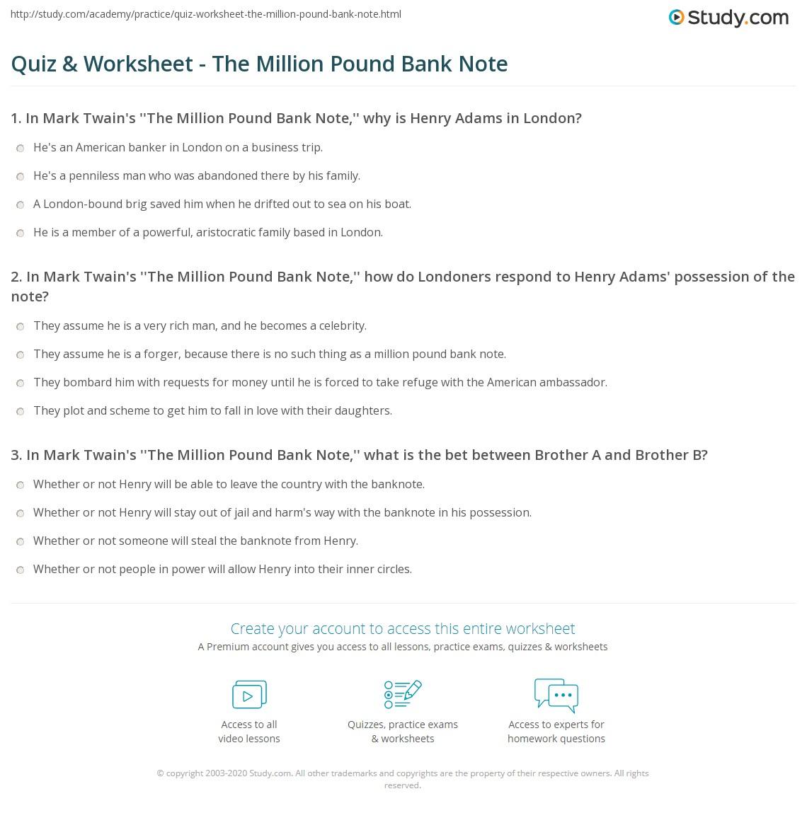 quiz worksheet the million pound bank note. Black Bedroom Furniture Sets. Home Design Ideas