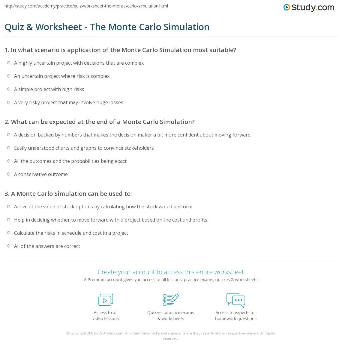 Quiz & Worksheet - The Monte Carlo Simulation | Study com