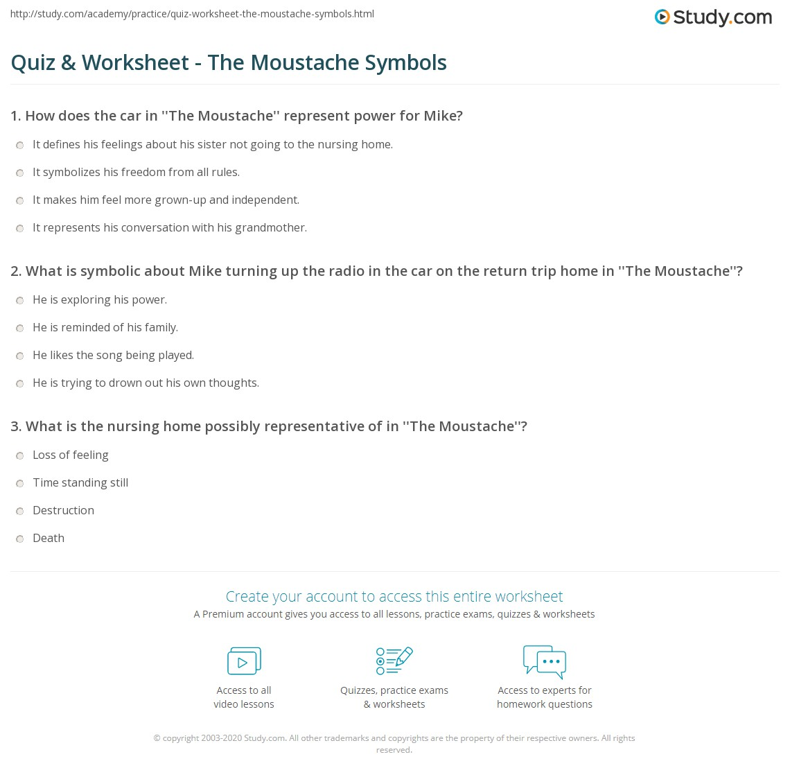 Quiz Worksheet The Moustache Symbols Study