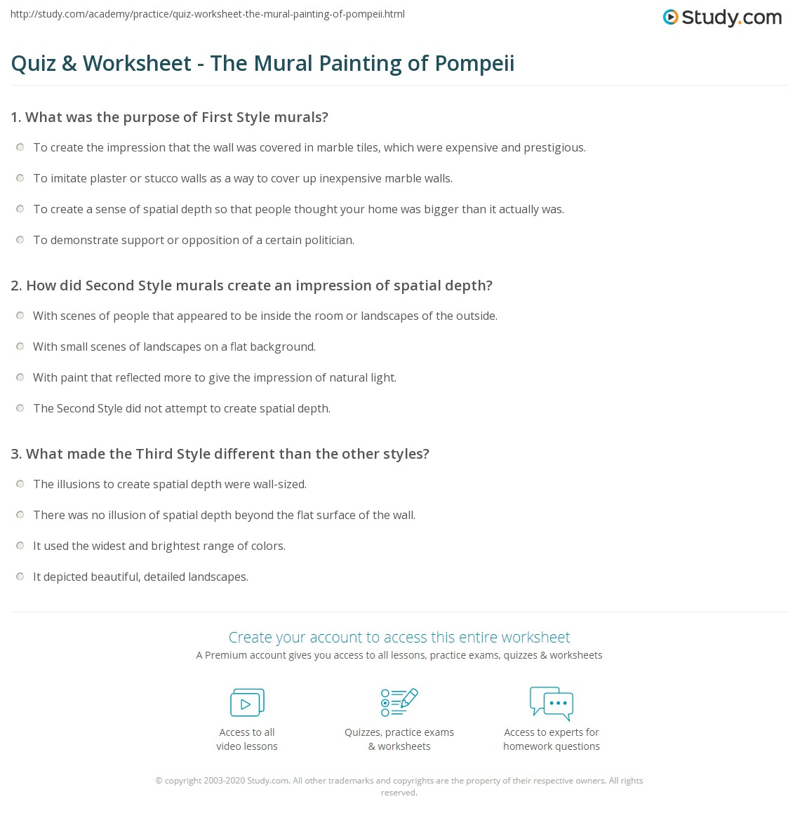 Quiz & Worksheet - The Mural Painting of Pompeii | Study.com