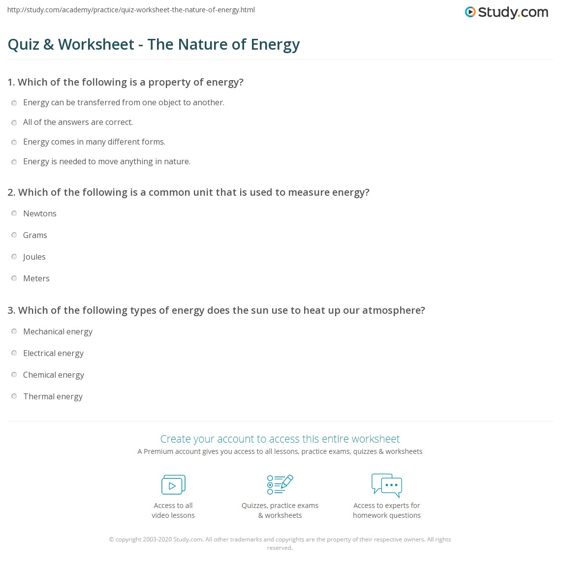 Worksheets Energy Worksheet Answers quiz worksheet the nature of energy study com print what is definition and significance in worksheet