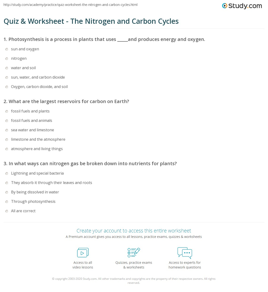 Quiz Worksheet The Nitrogen and Carbon Cycles – Water Carbon and Nitrogen Cycle Worksheet Answers