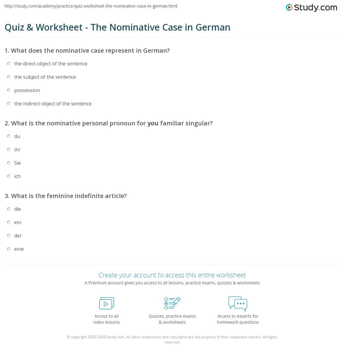 worksheet Nominative Case Pronouns Worksheets quiz worksheet the nominative case in german study com print definition examples worksheet
