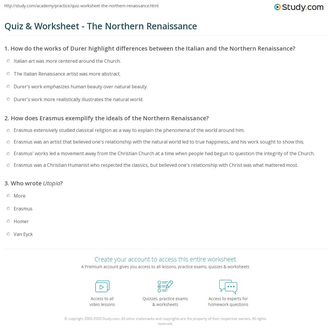 quiz worksheet the northern renaissance. Black Bedroom Furniture Sets. Home Design Ideas