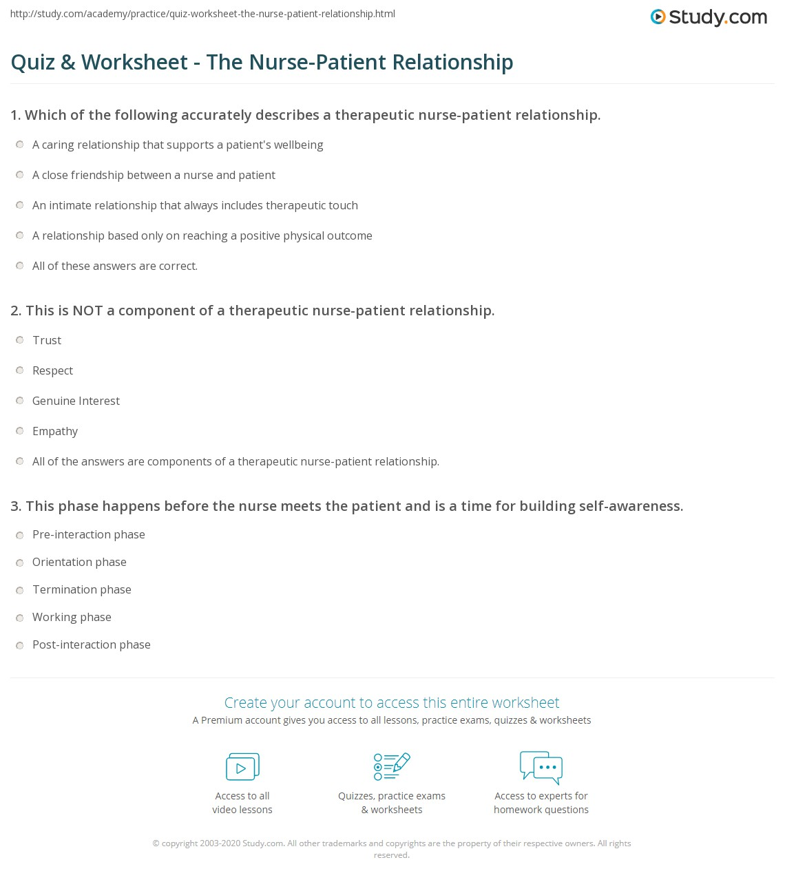 Print The Nurse-Patient Relationship: Components, Phases & Outcomes  Worksheet
