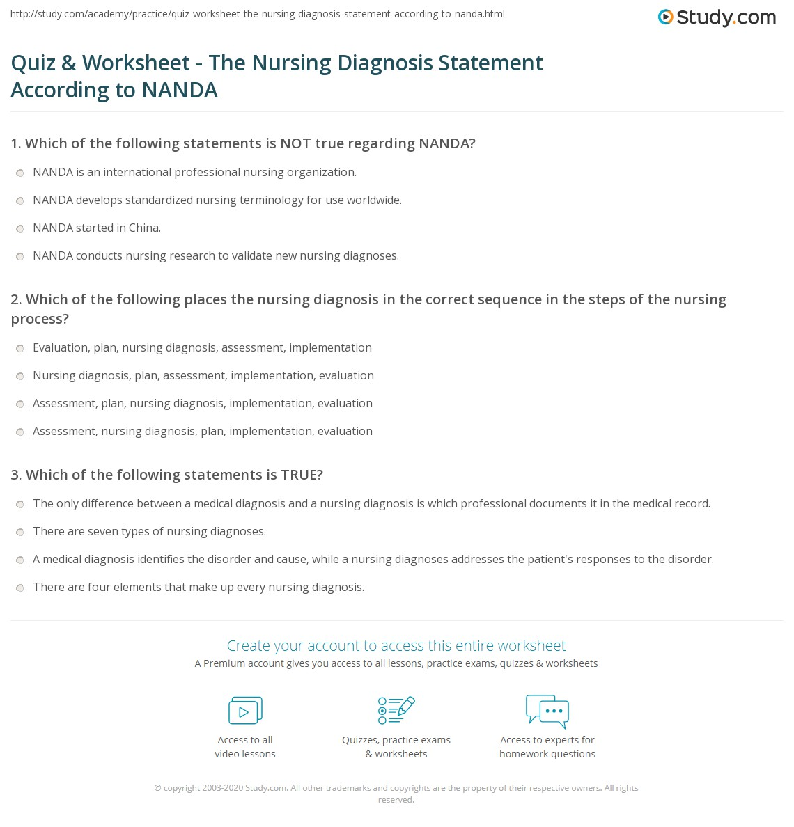 nanda nursing diagnosis