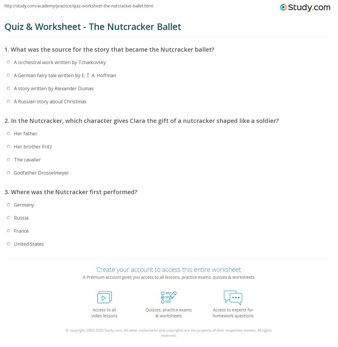 Quiz & Worksheet - The Nutcracker Ballet | Study.com