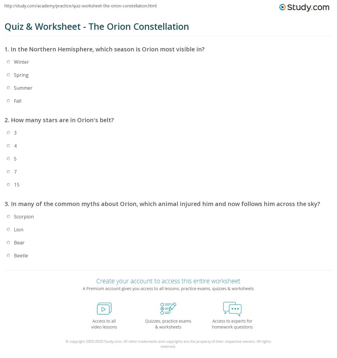 Worksheets Constellation Worksheets quiz worksheet the orion constellation study com print stars belt worksheet