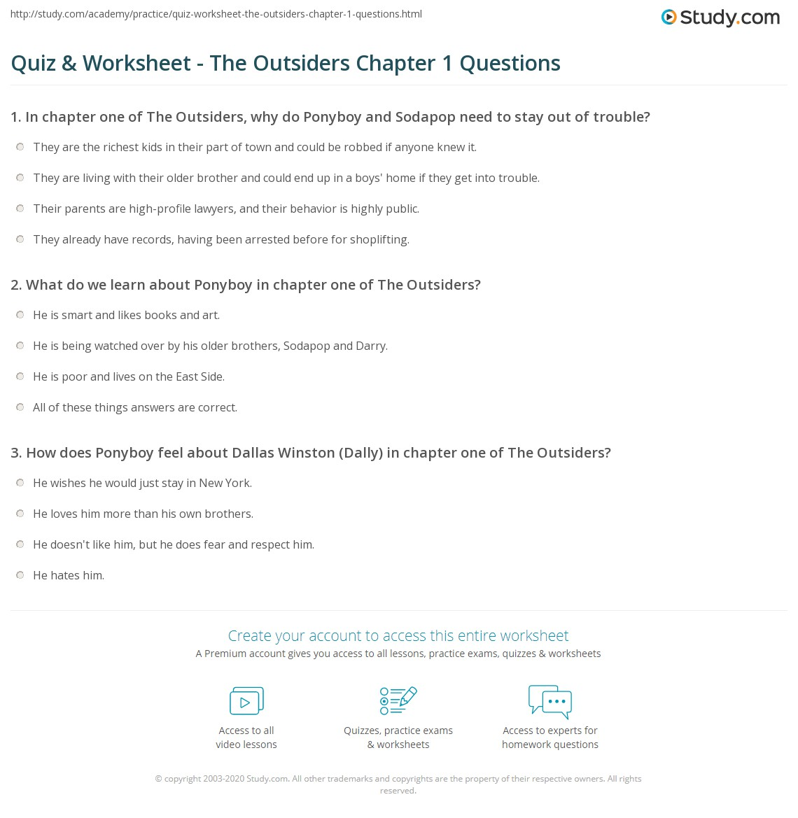 quiz worksheet the outsiders chapter questions com print the outsiders chapter 1 summary worksheet