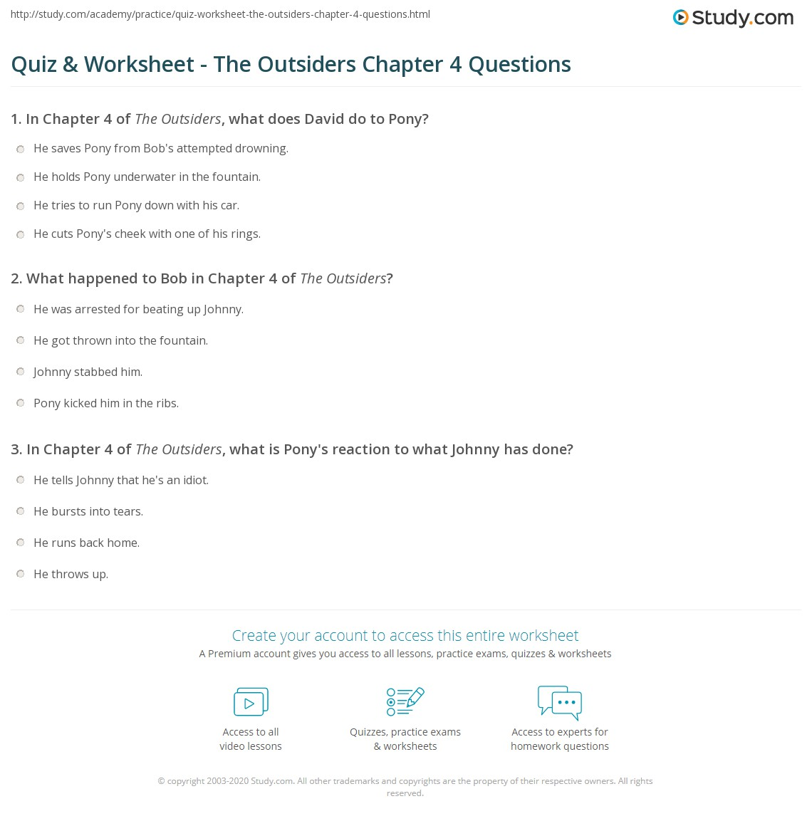 quiz worksheet the outsiders chapter 4 questions. Black Bedroom Furniture Sets. Home Design Ideas