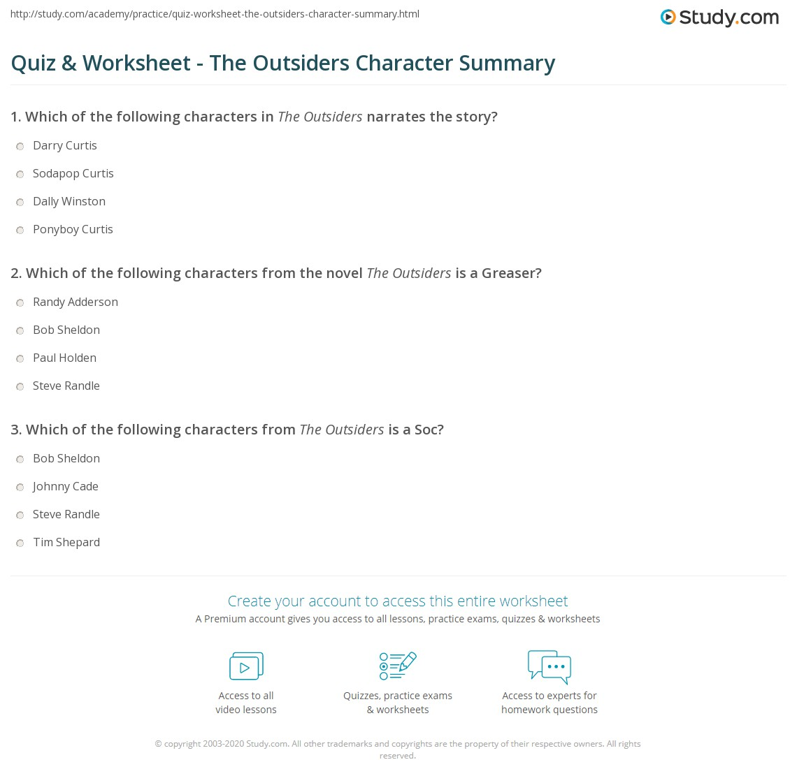 Quiz Amp Worksheet The Outsiders Character Summary Study Com