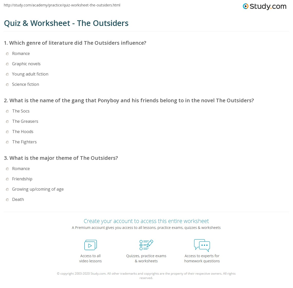 Worksheets The Outsiders Worksheets quiz worksheet the outsiders study com print summary characters worksheet