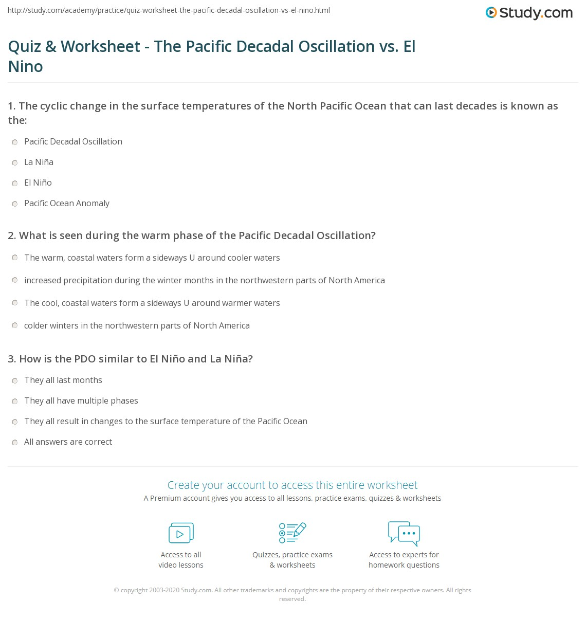 quiz worksheet the pacific decadal oscillation vs el nino. Black Bedroom Furniture Sets. Home Design Ideas