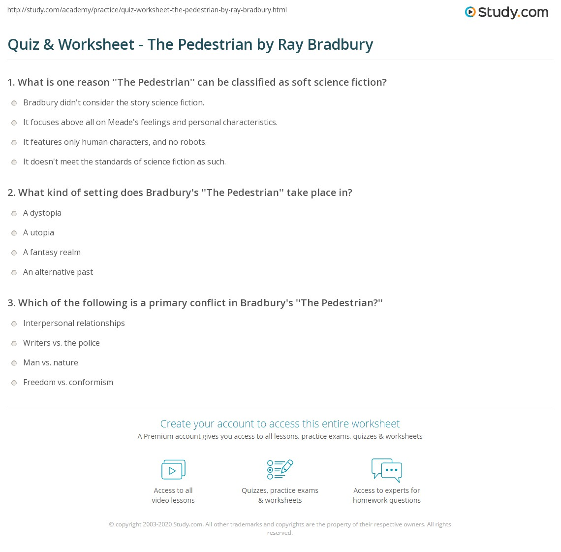 Quiz Worksheet The Pedestrian By Ray Bradbury Study