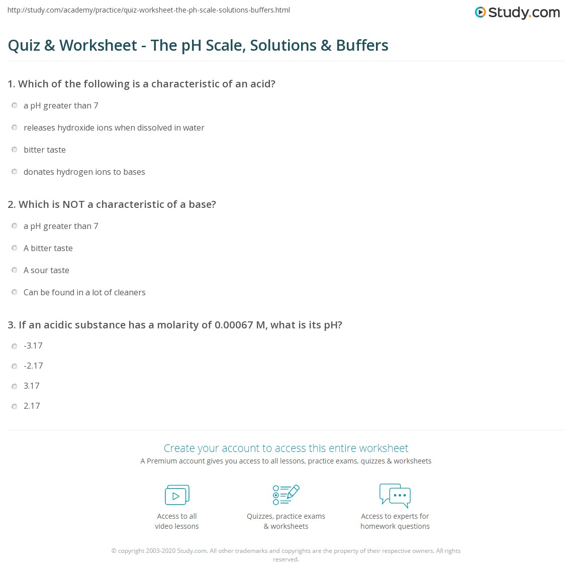 Quiz & Worksheet - The pH Scale, Solutions & Buffers | Study.com