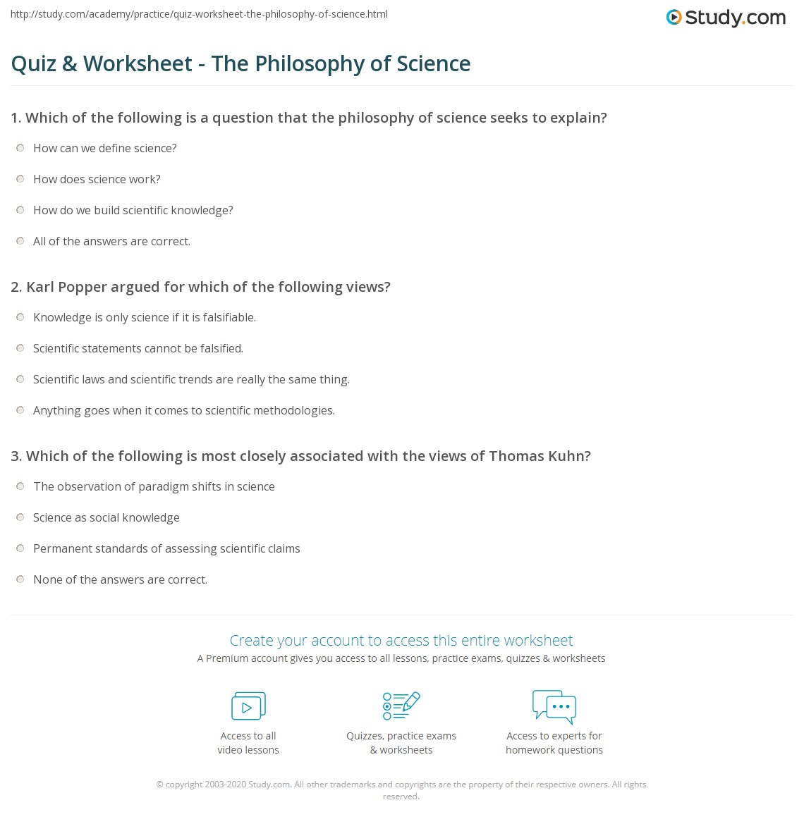 Quiz & Worksheet - The Philosophy of Science | Study com