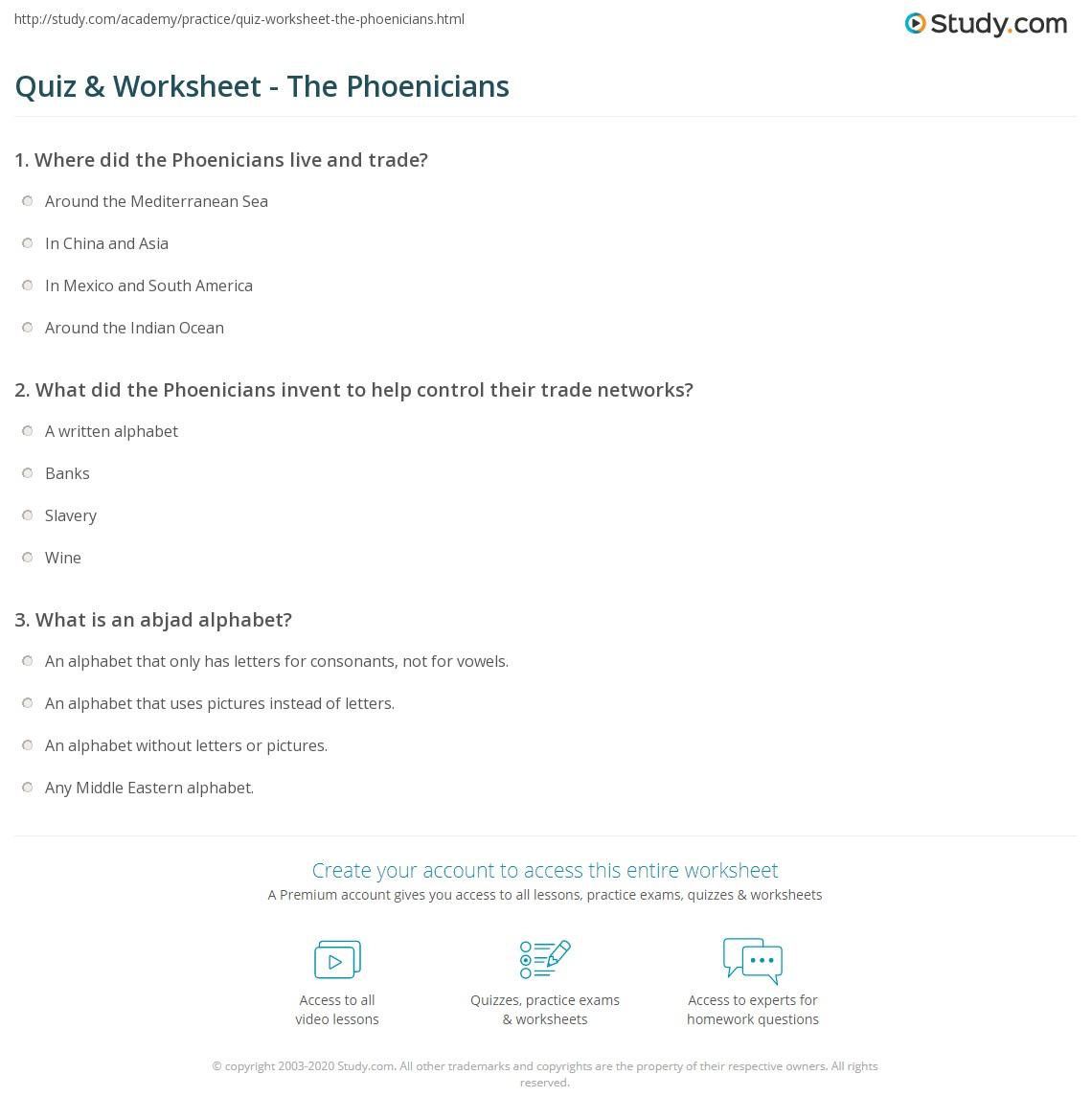 Workbooks social studies worksheets 6th grade : Quiz & Worksheet - The Phoenicians   Study.com