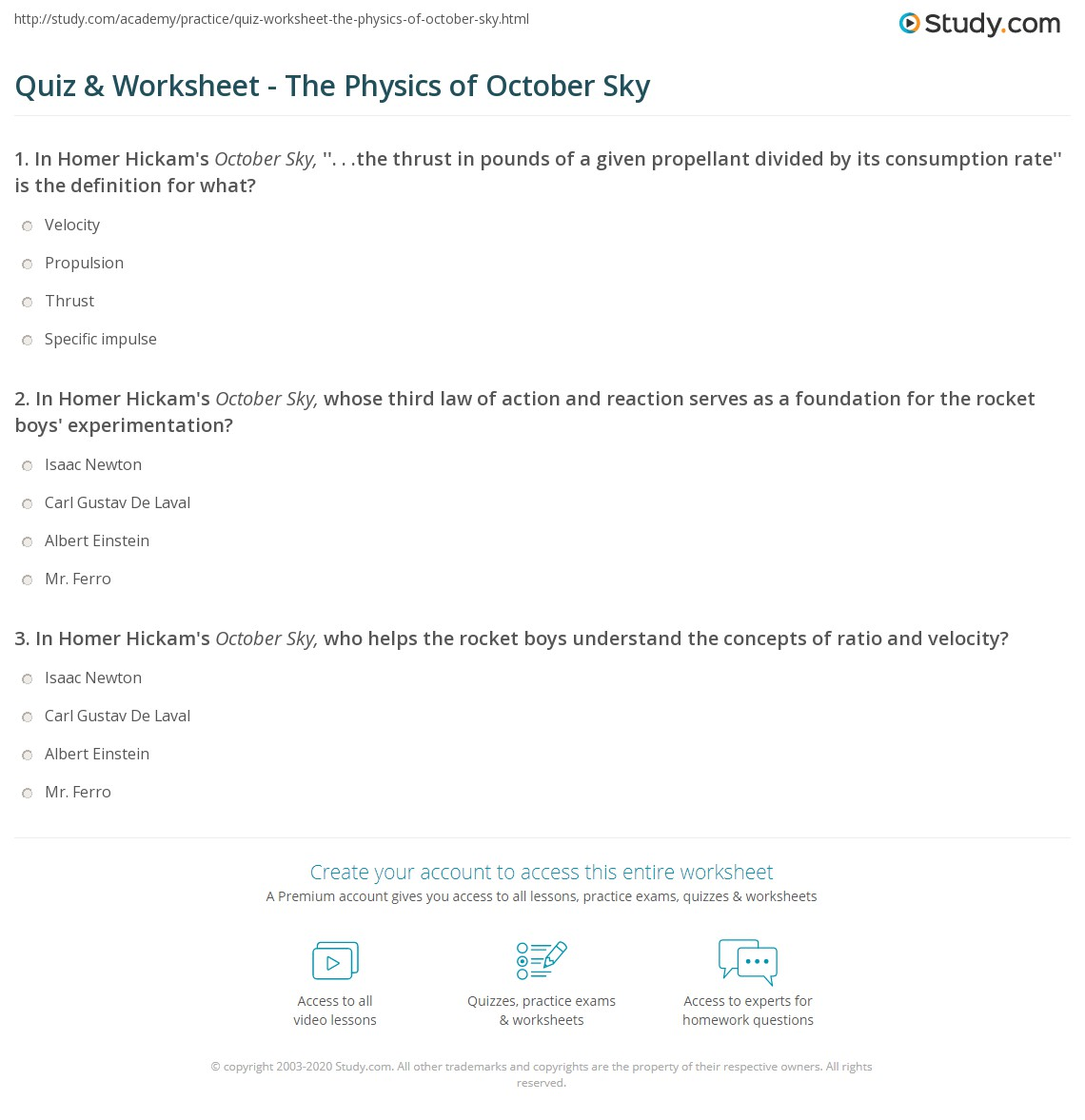 Worksheets October Sky Worksheet Answers quiz worksheet the physics of october sky study com print used in worksheet