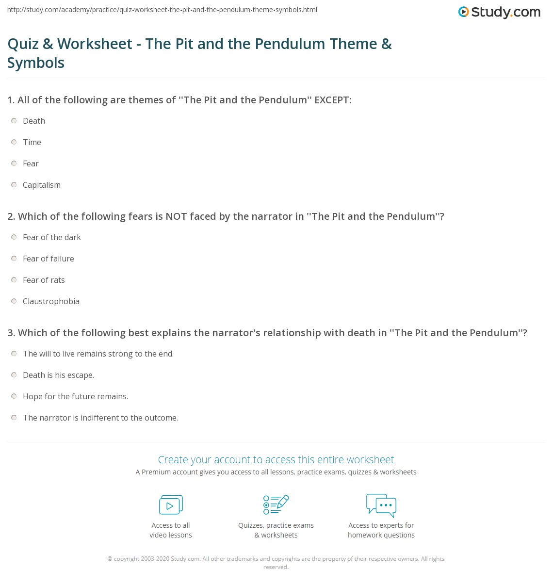 Worksheets Symbolism Worksheets quiz worksheet the pit and pendulum theme symbols study com print symbolism worksheet
