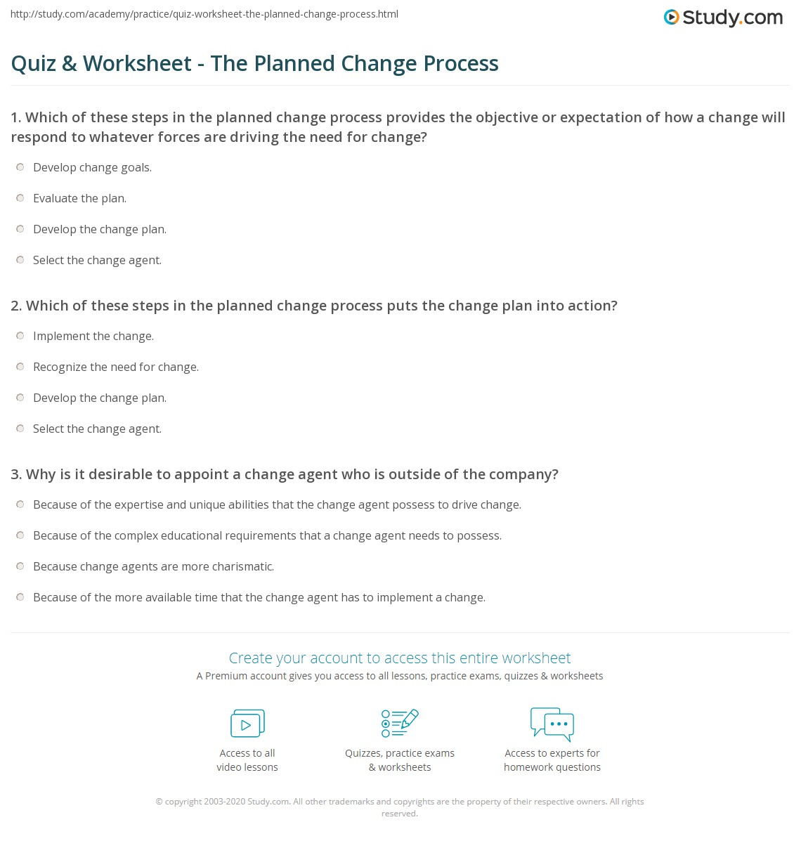 worksheet Change Plan Worksheet quiz worksheet the planned change process study com which of these steps in puts plan into action