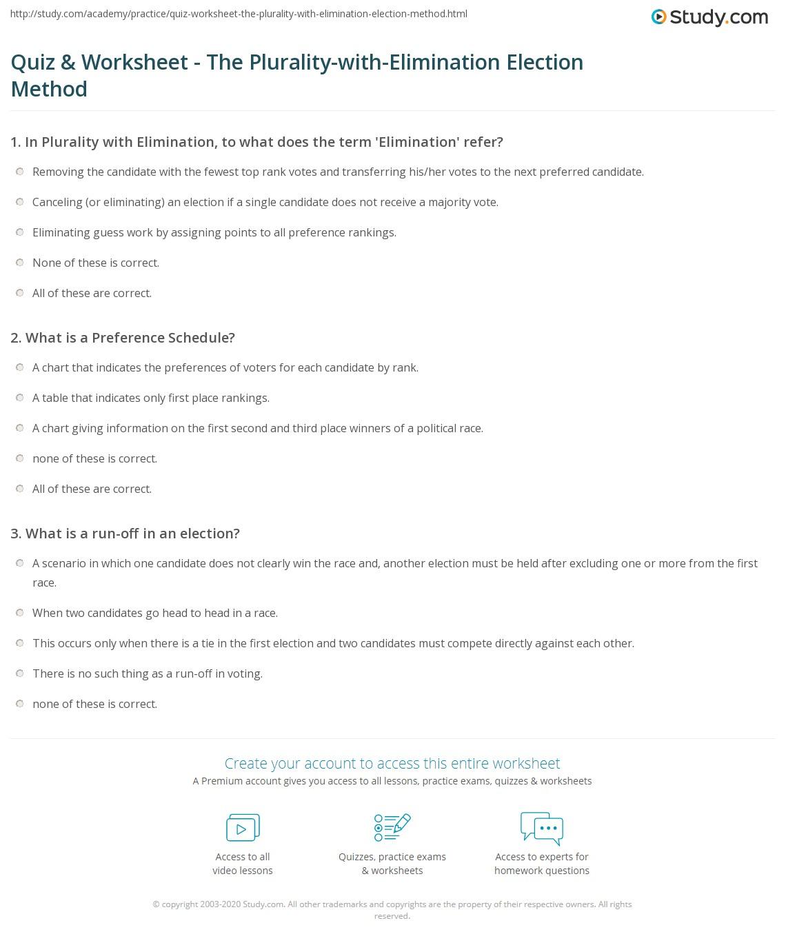 Worksheets Elimination Method Worksheet quiz worksheet the plurality with elimination election method print worksheet