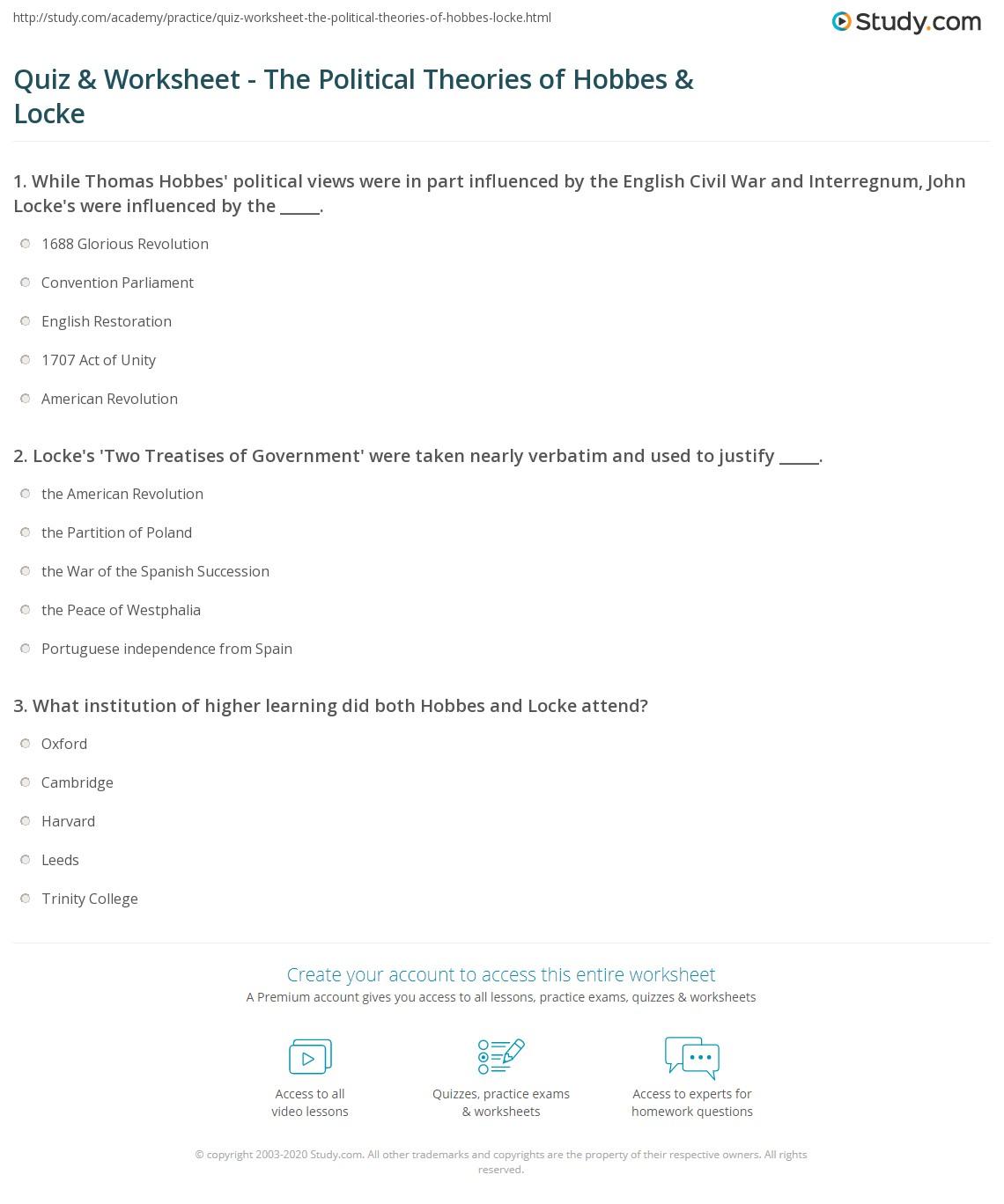 Quiz & Worksheet - The Political Theories of Hobbes & Locke ...