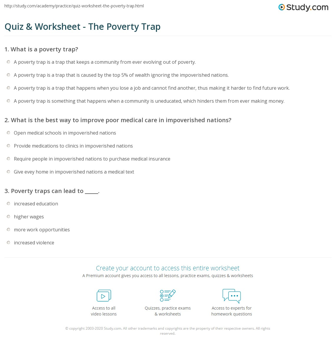 quiz worksheet the poverty trap study com