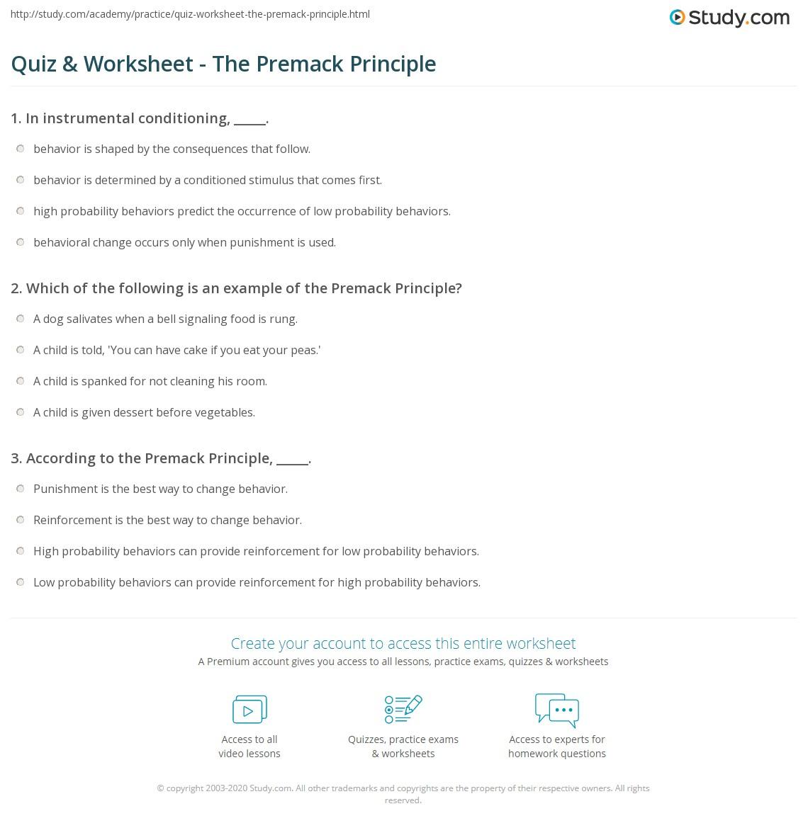Quiz Worksheet The Premack Principle Study