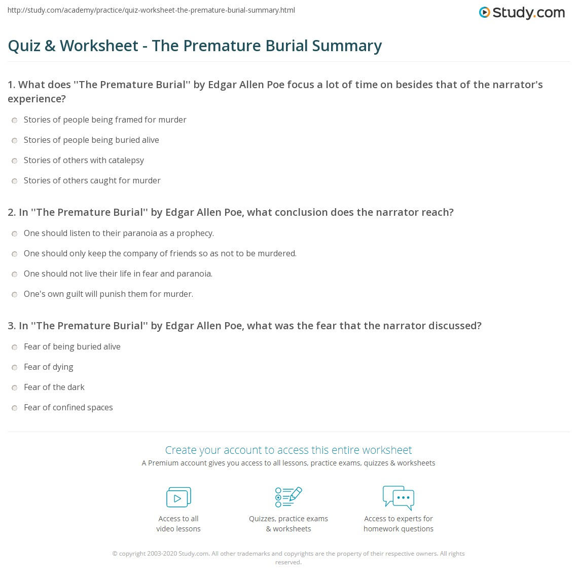 the premature burial summary
