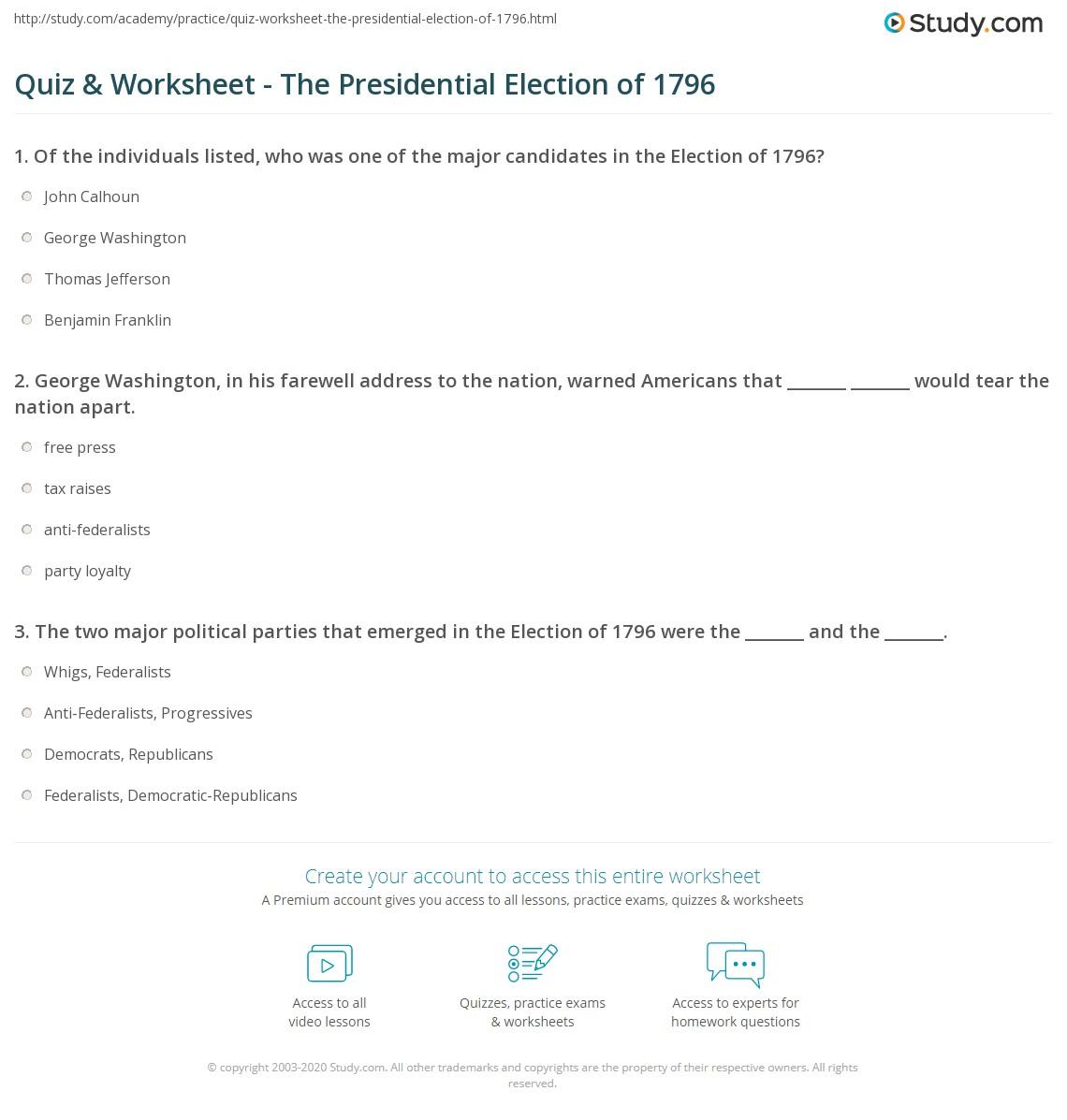 quiz worksheet the presidential election of 1796. Black Bedroom Furniture Sets. Home Design Ideas