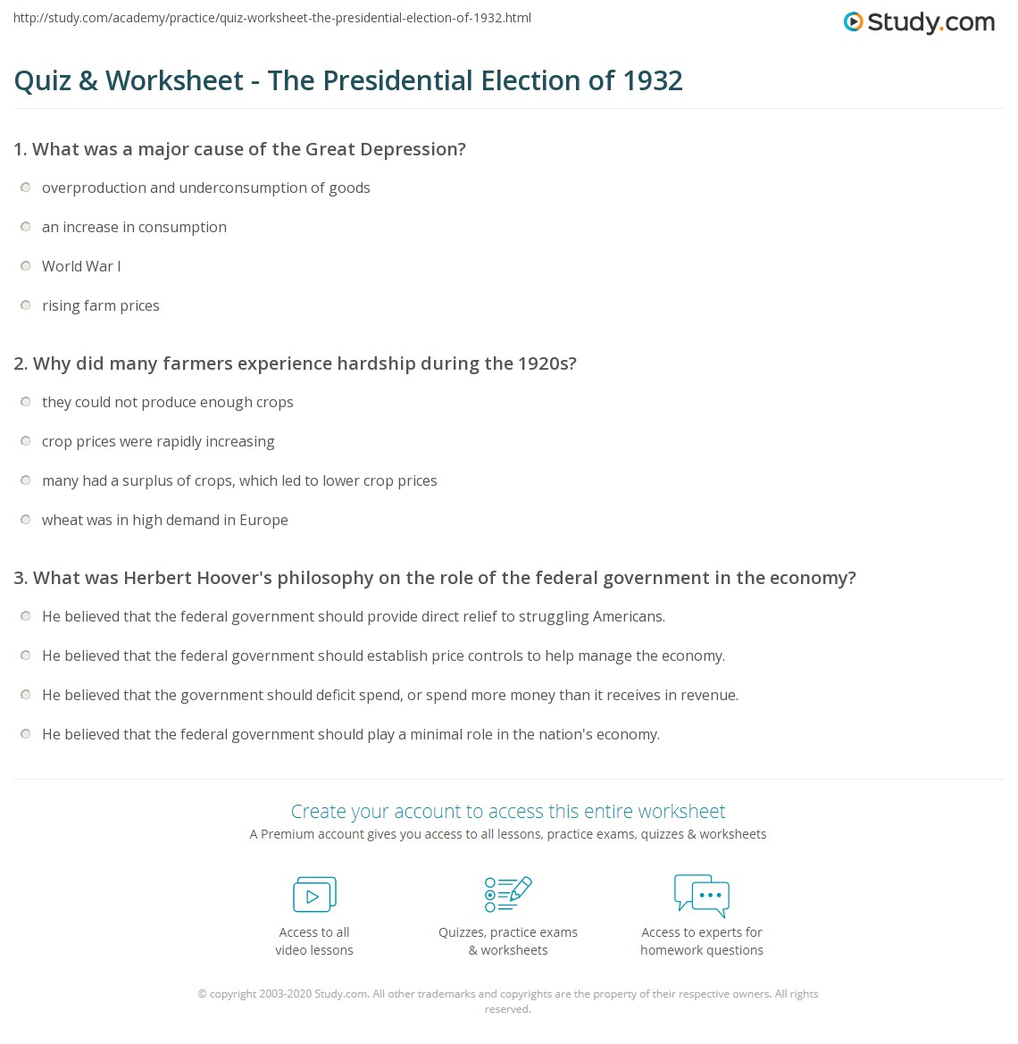 worksheet Causes Of The Great Depression Worksheet quiz worksheet the presidential election of 1932 study com print summary results worksheet