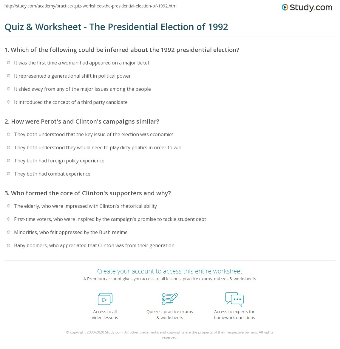 Quiz Worksheet The Presidential Election of 1992 – Bill of Rights Worksheet High School