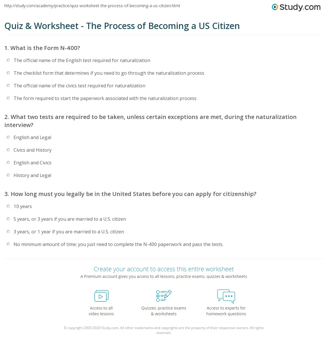 Quiz worksheet the process of becoming a us citizen study how to become a us citizen falaconquin