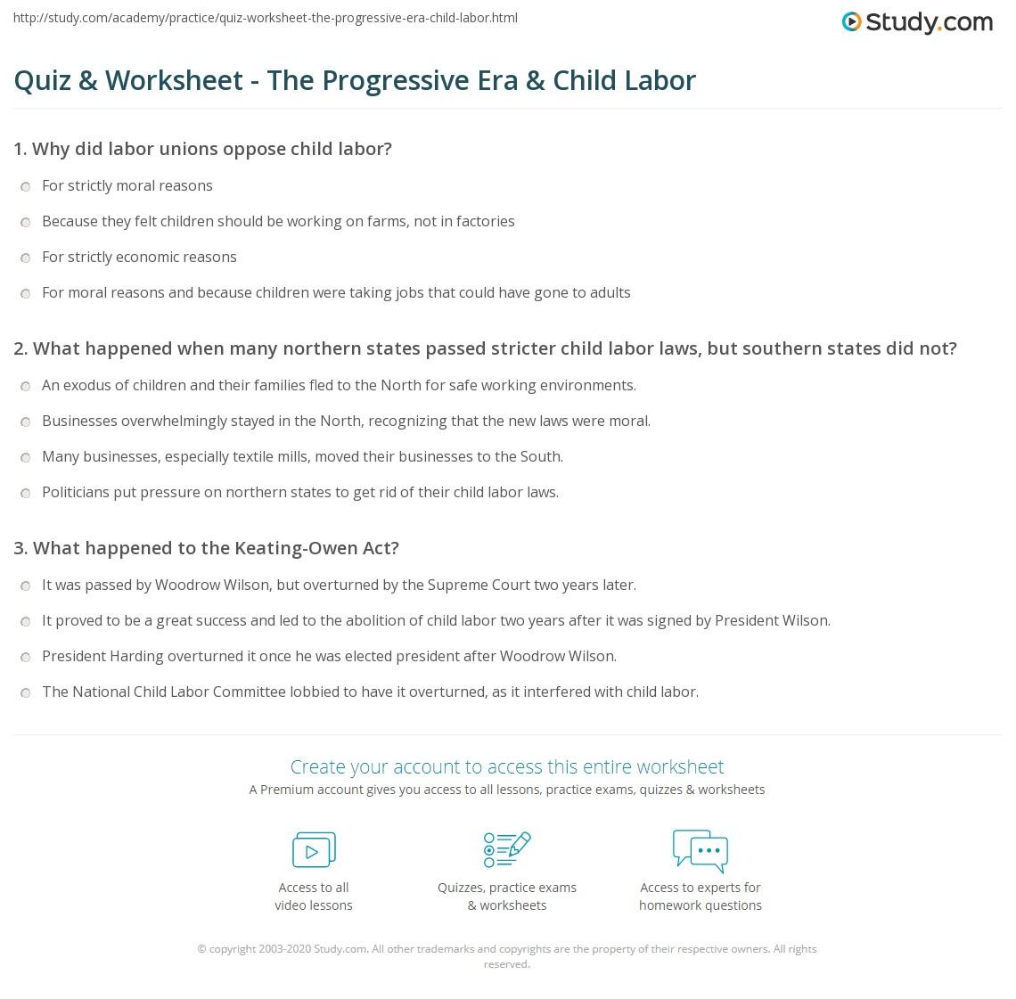Print Child Labor in the Progressive Era Worksheet