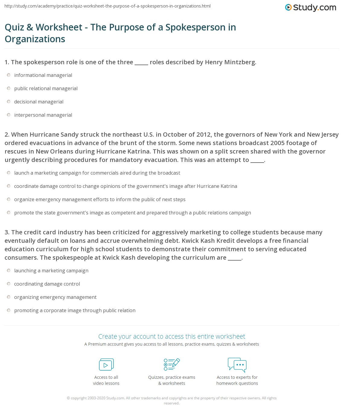 Quiz Worksheet The Purpose Of A Spokesperson In Organizations