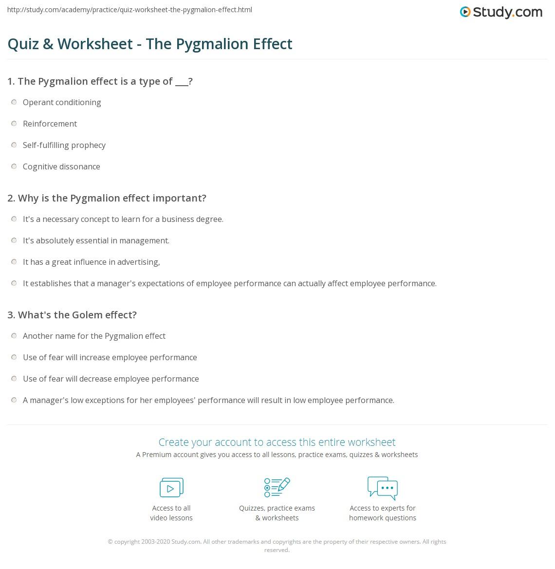 Quiz Worksheet The Pygmalion Effect Study