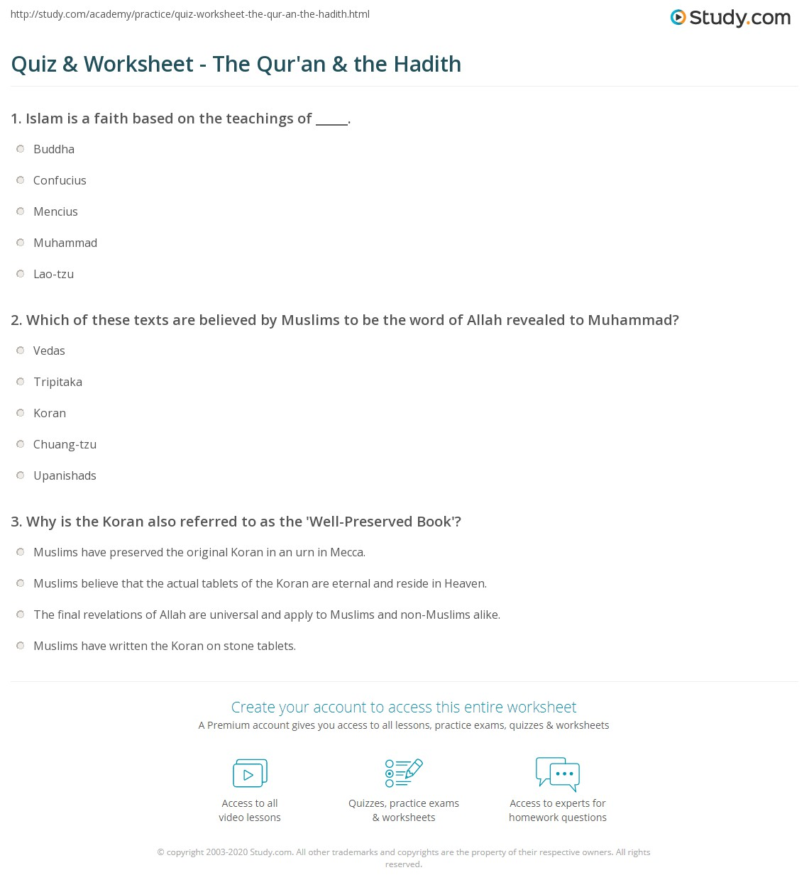 Quiz & Worksheet - The Qur'an & the Hadith   Study com