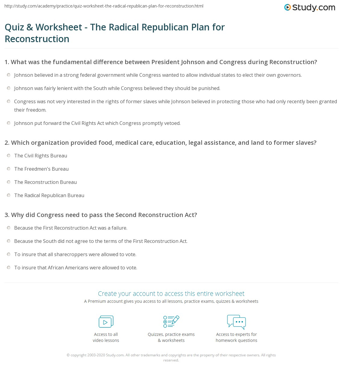 worksheet Reconstruction After The Civil War Worksheets quiz worksheet the radical republican plan for reconstruction print acts civil rights act worksheet