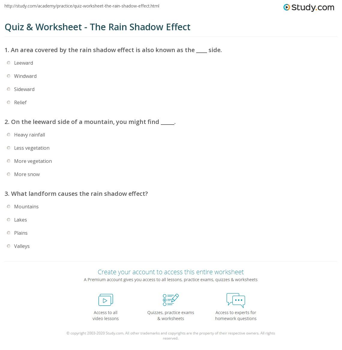 Quiz & Worksheet - The Rain Shadow Effect | Study.com