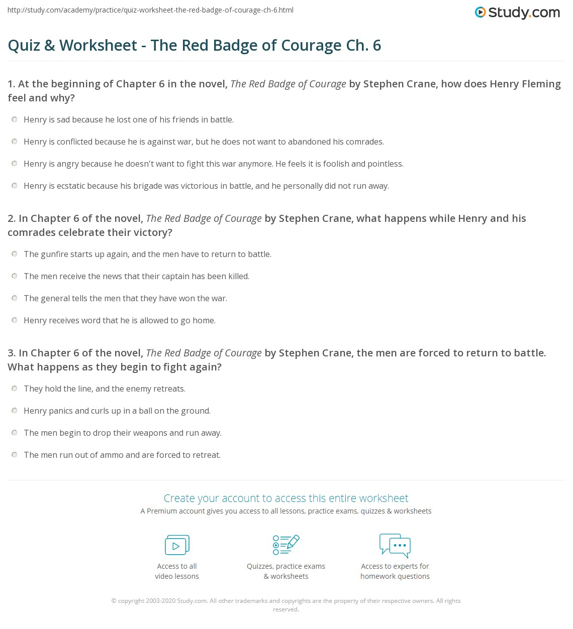 Quiz & Worksheet - The Red Badge of Courage Ch  6 | Study com