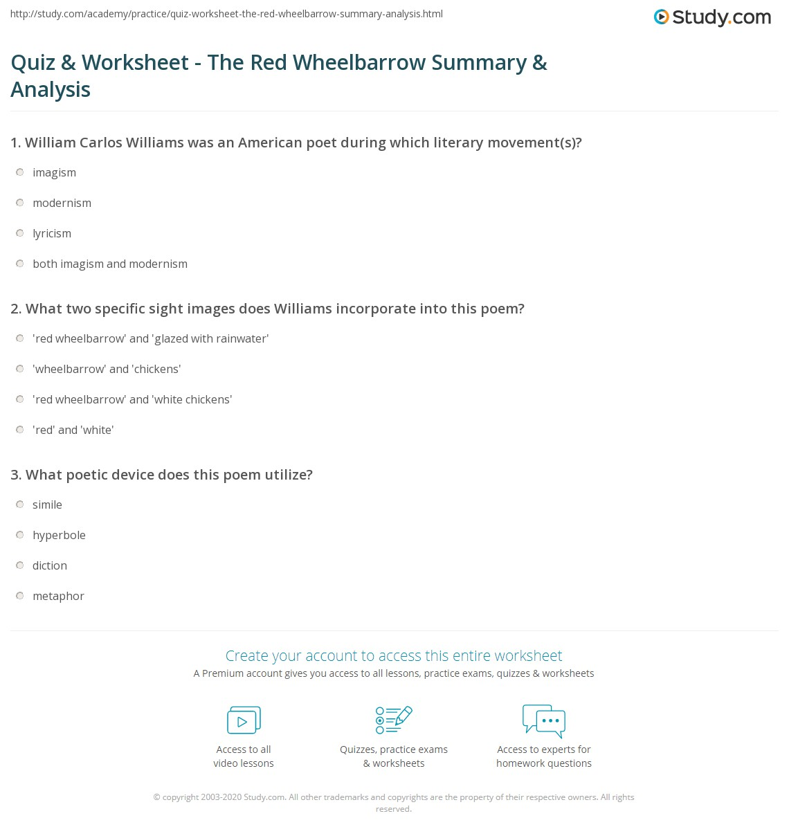 Quiz Worksheet The Red Wheelbarrow Summary Analysis Study