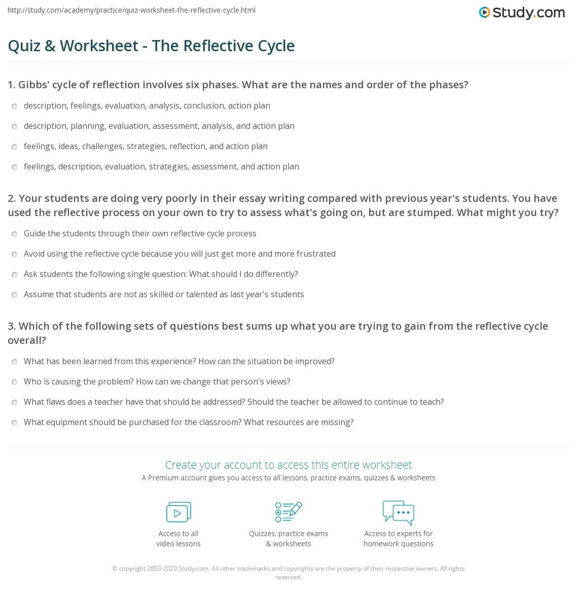 quiz worksheet the reflective cycle com your students are doing very poorly in their essay writing compared previous year s students you have used the reflective process on your own to try
