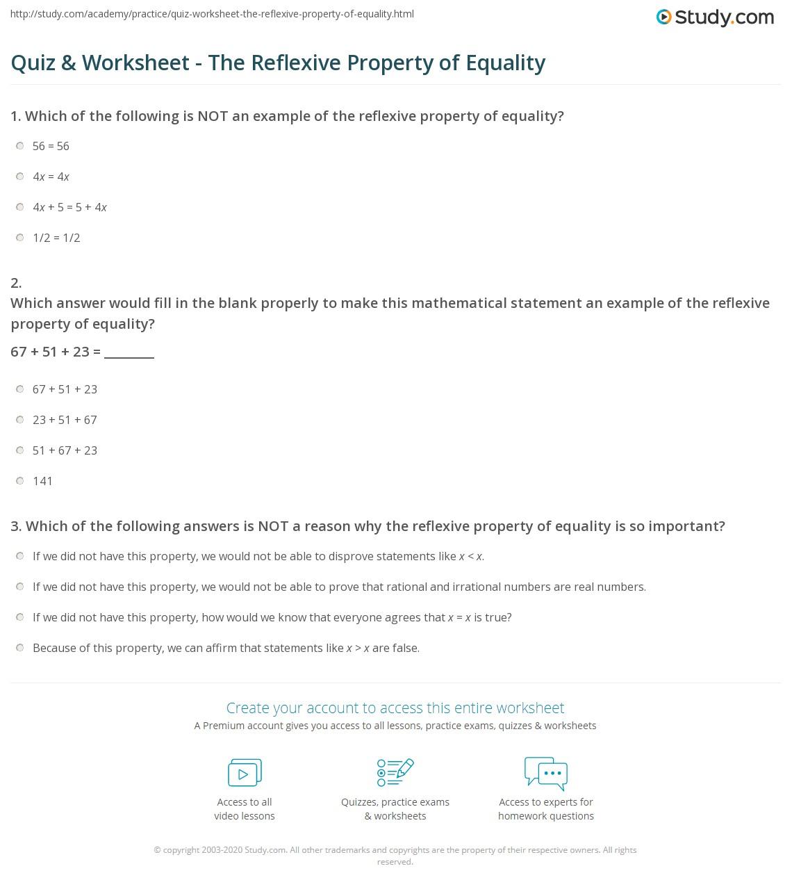 Worksheets Identifying Algebraic Properties Worksheet quiz worksheet the reflexive property of equality study com print definition examples worksheet