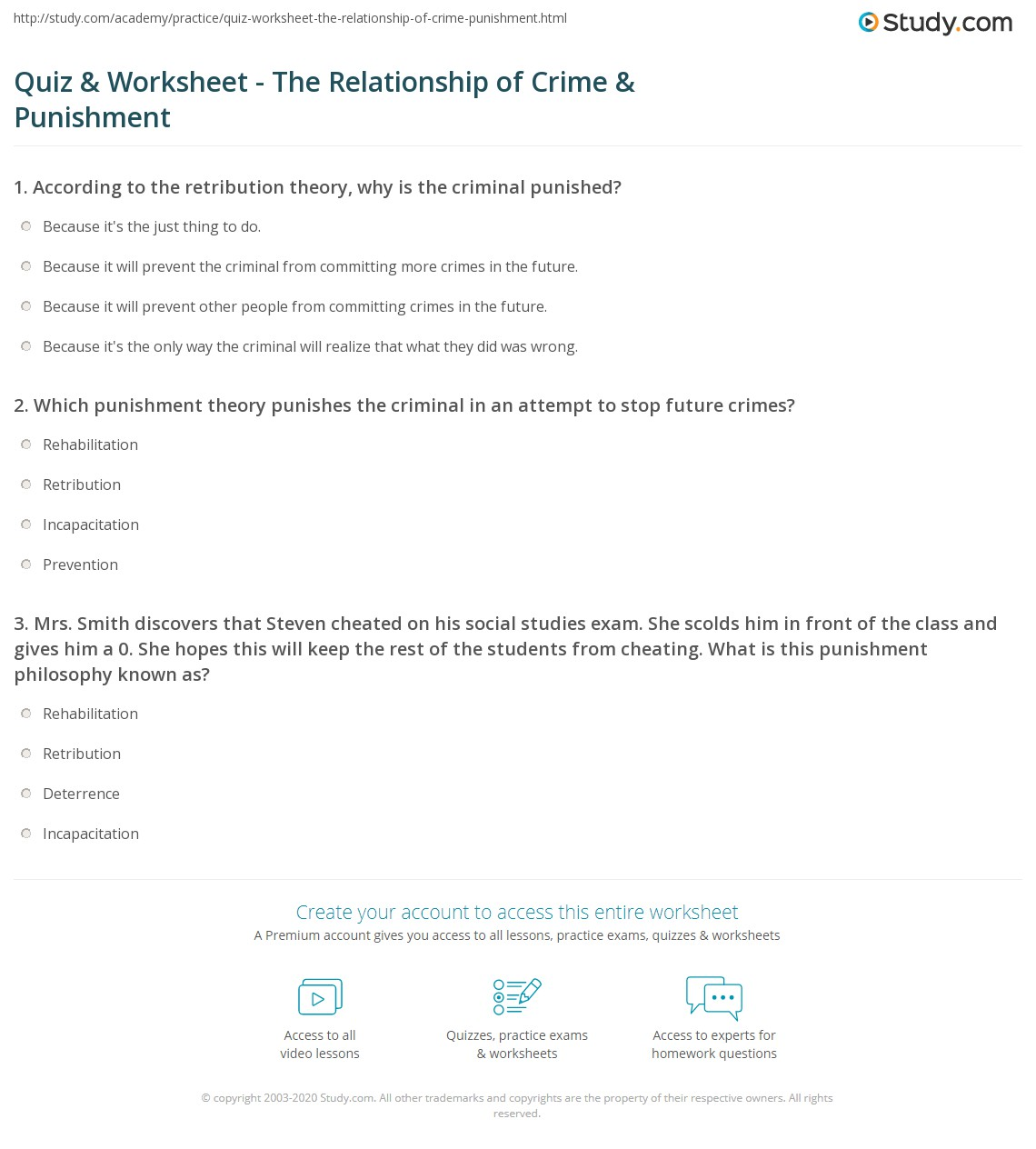 quiz worksheet the relationship of crime punishment. Black Bedroom Furniture Sets. Home Design Ideas