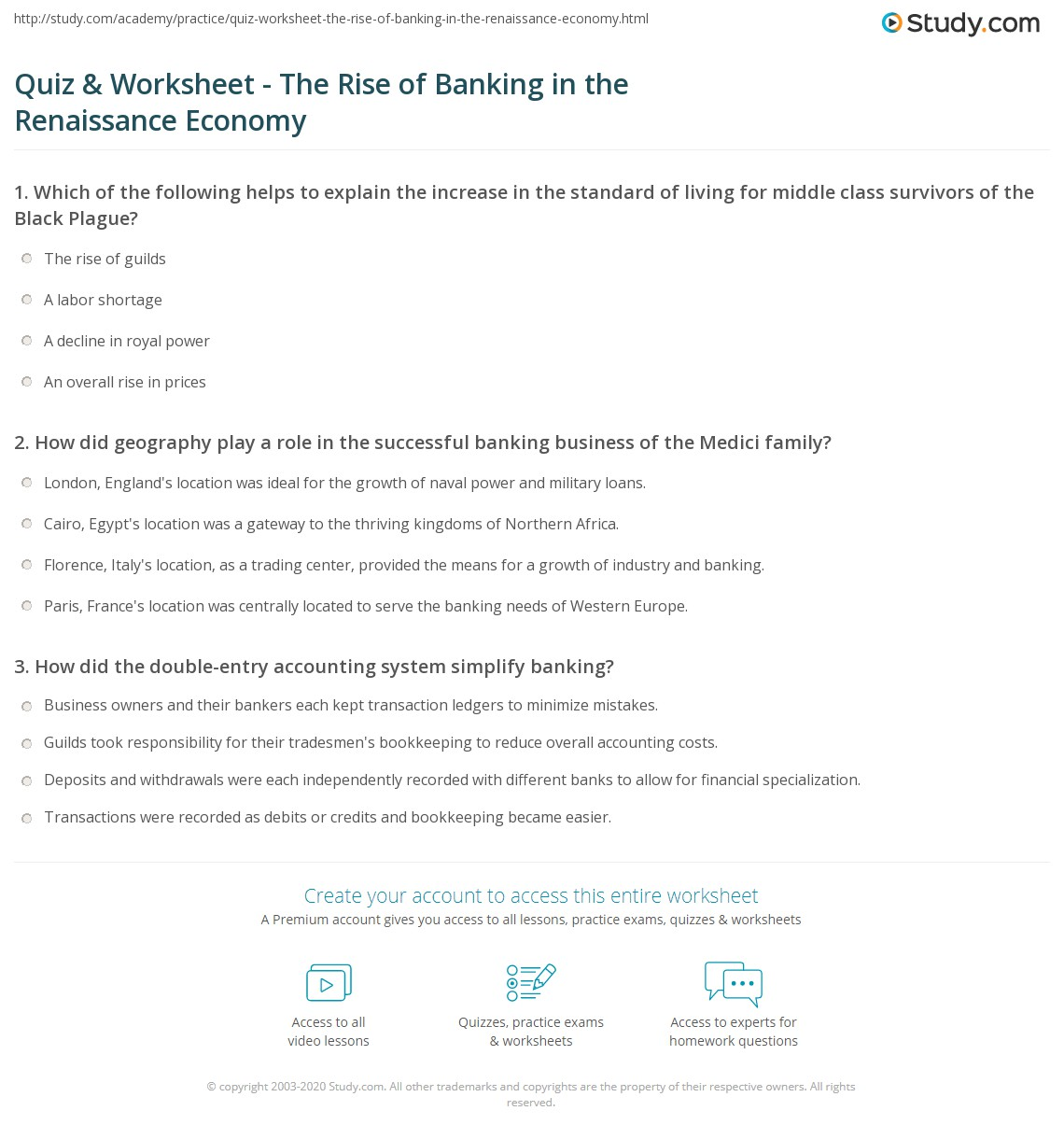 quiz worksheet the rise of banking in the renaissance economy. Black Bedroom Furniture Sets. Home Design Ideas