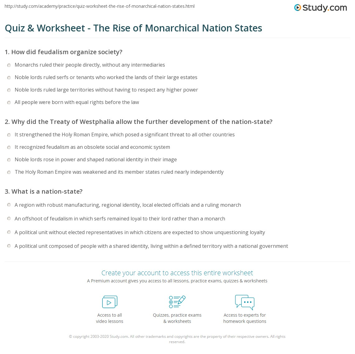 Workbooks learning the states worksheets : Quiz & Worksheet - The Rise of Monarchical Nation States | Study.com